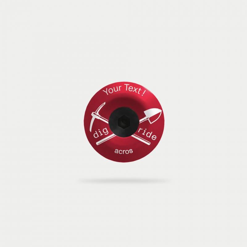 digride-topcap, rot,  mit individellem Text