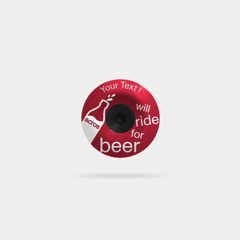 beer topcap, rot, mit text